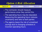 option a risk allocation