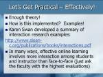 let s get practical effectively