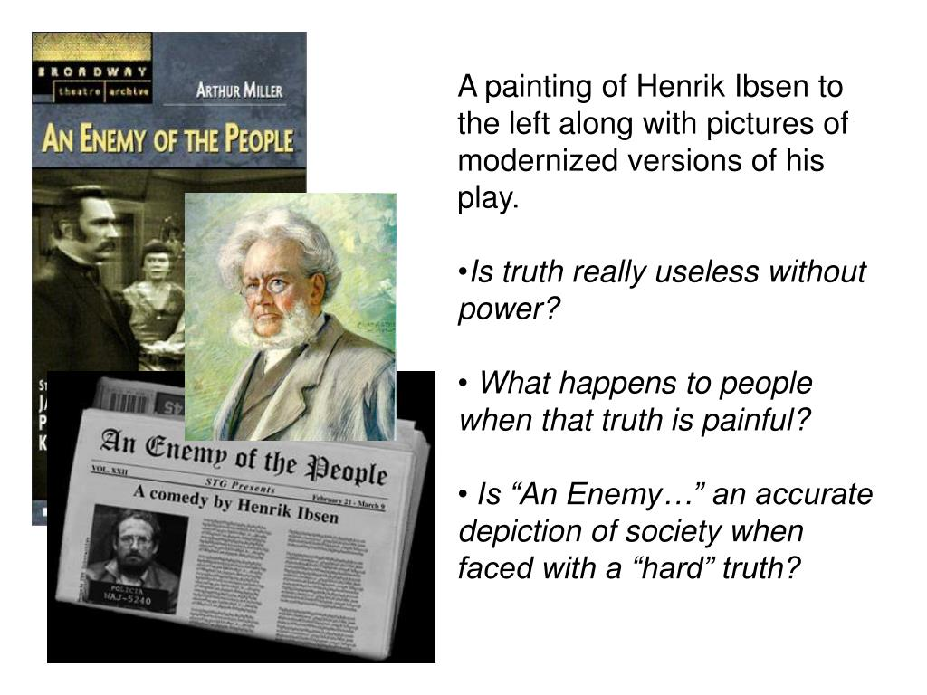 A painting of Henrik Ibsen to the left along with pictures of modernized versions of his play.