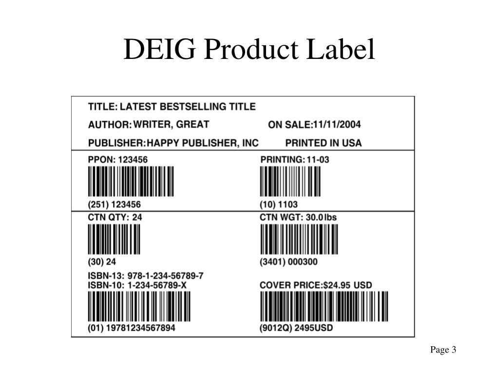 DEIG Product Label