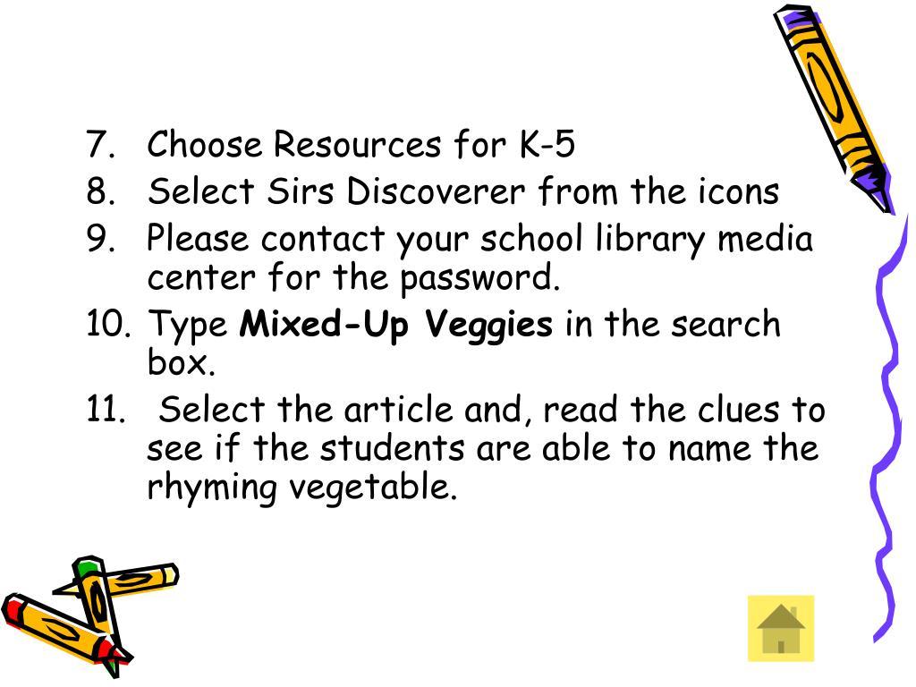 Choose Resources for K-5