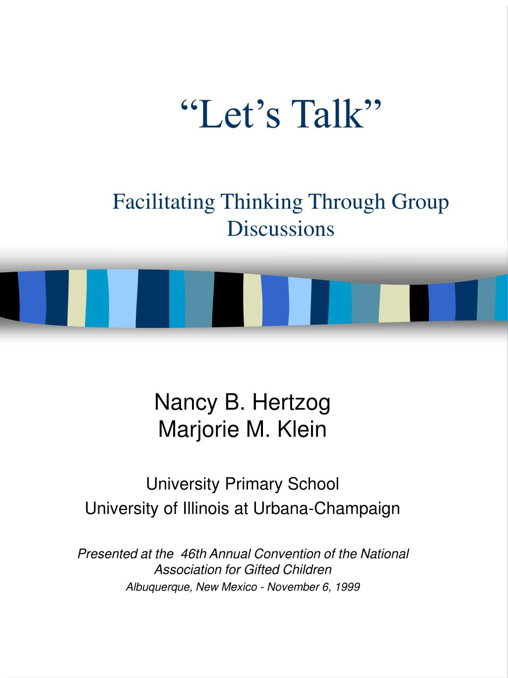 let s talk facilitating thinking through group discussions l.