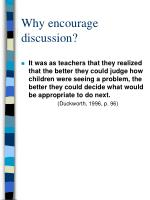 why encourage discussion