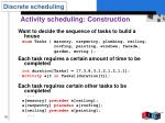 activity scheduling construction
