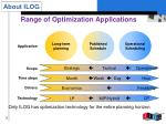range of optimization applications
