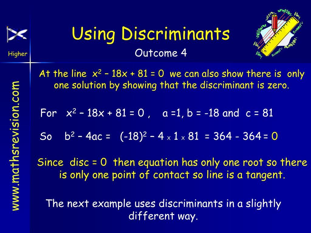 Using Discriminants