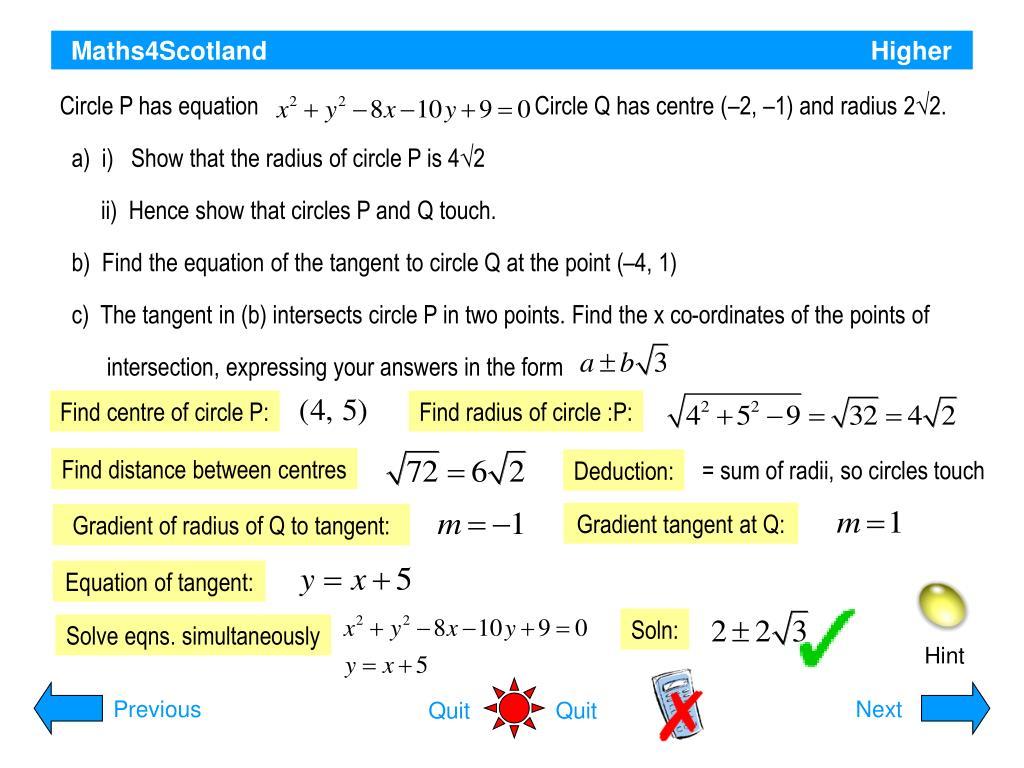 Circle P has equation                                               Circle Q has centre (–2, –1) and radius 2