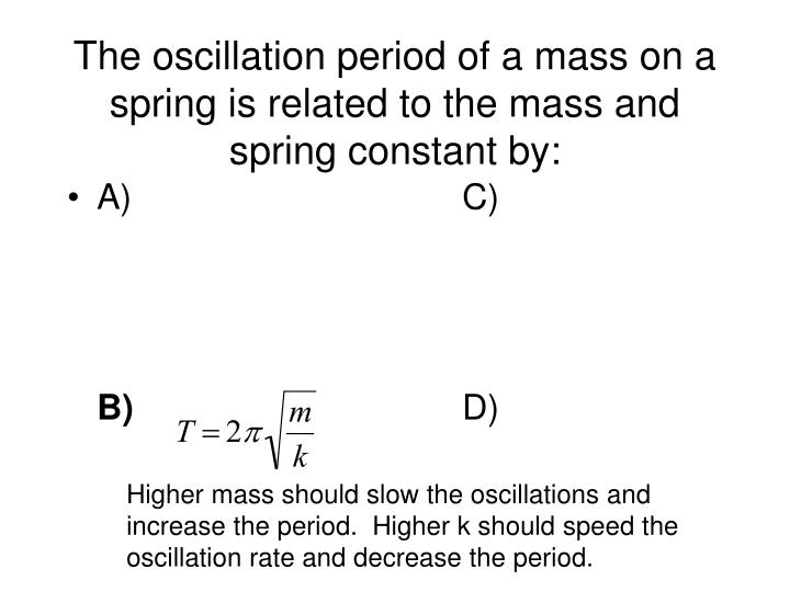 The oscillation period of a mass on a spring is related to the mass and spring constant by