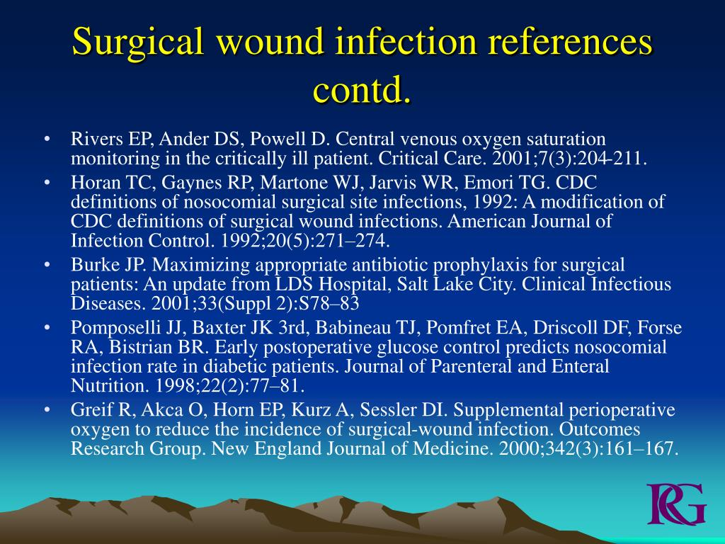 Surgical wound infection references contd.