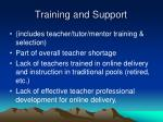 training and support