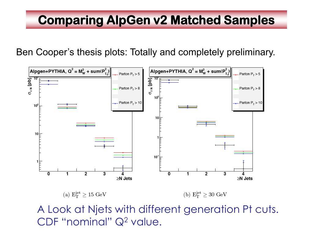 Comparing AlpGen v2 Matched Samples