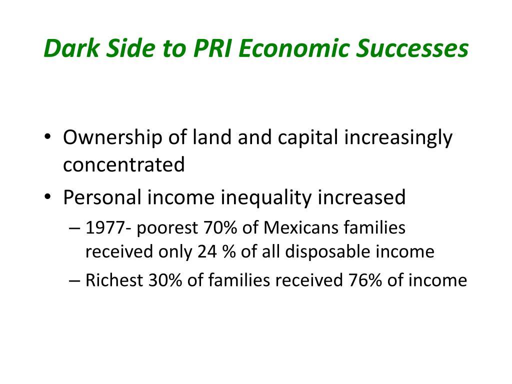 Dark Side to PRI Economic Successes