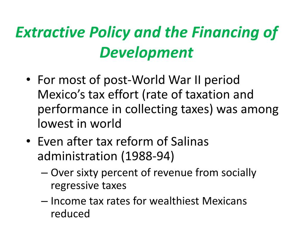 Extractive Policy and the Financing of Development