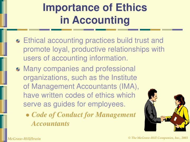 what is accounting ethics 1 (business and accounting ethics) the failure of auditor sovereignty infringing ule 101 of the aicpa code of professional conduct was the topic of a research project using 2,000 arbitrarily chosen aicpa members in public accounting profession as a staff auditor, senior, or manager.