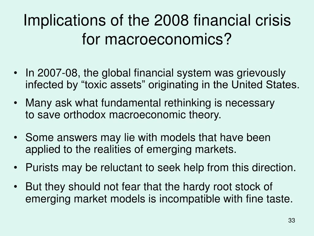 Implications of the 2008 financial crisis for macroeconomics?