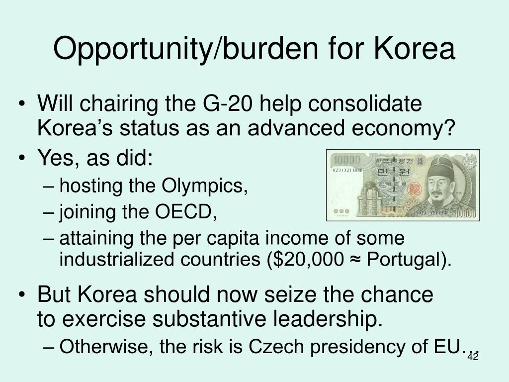 Opportunity/burden for Korea