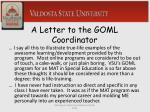 a letter to the goml coordinator