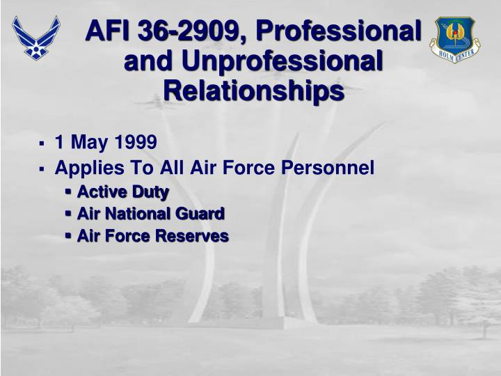 Afi 36 2909 professional and unprofessional relationships