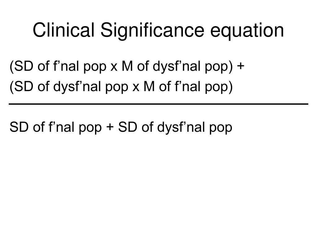 Clinical Significance equation