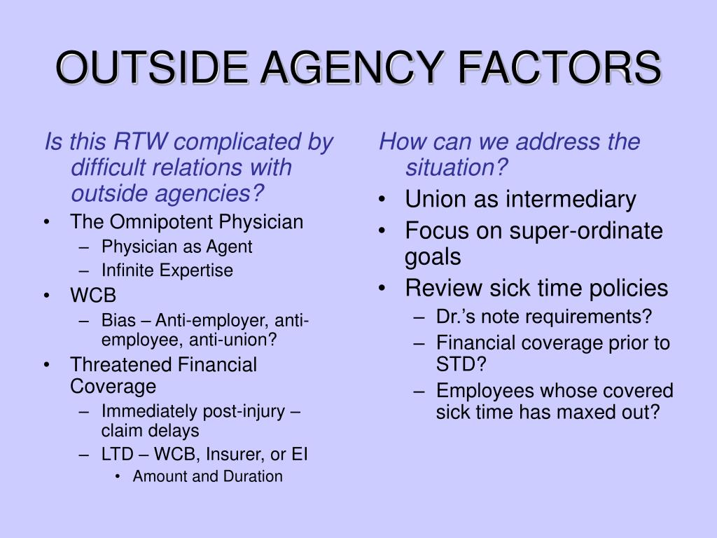 Is this RTW complicated by difficult relations with outside agencies?