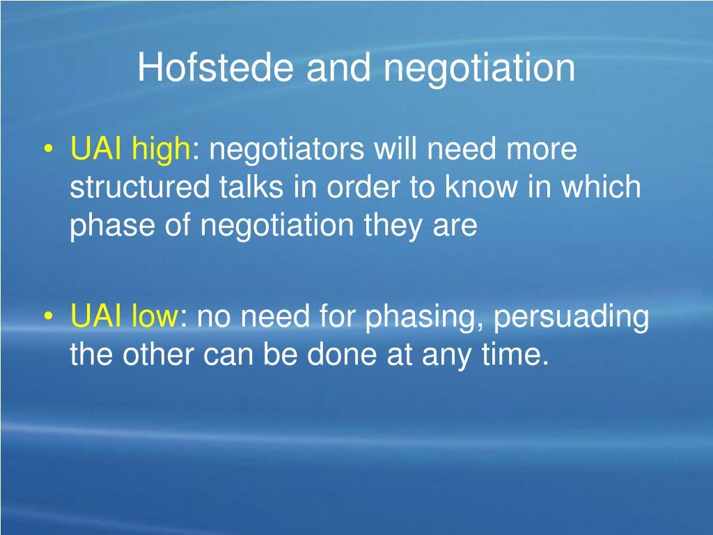 Hofstede and negotiation