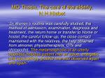 md thesis the care of the elderly n h nisbet