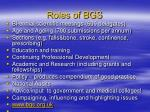 roles of bgs
