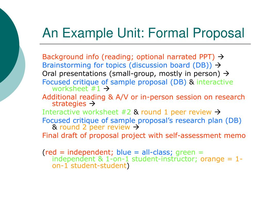 An Example Unit: Formal Proposal