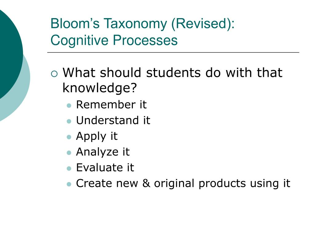 Bloom's Taxonomy (Revised): Cognitive Processes