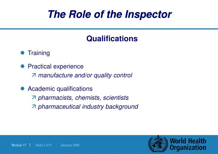 The role of the inspector3