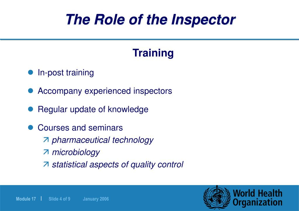 The Role of the Inspector