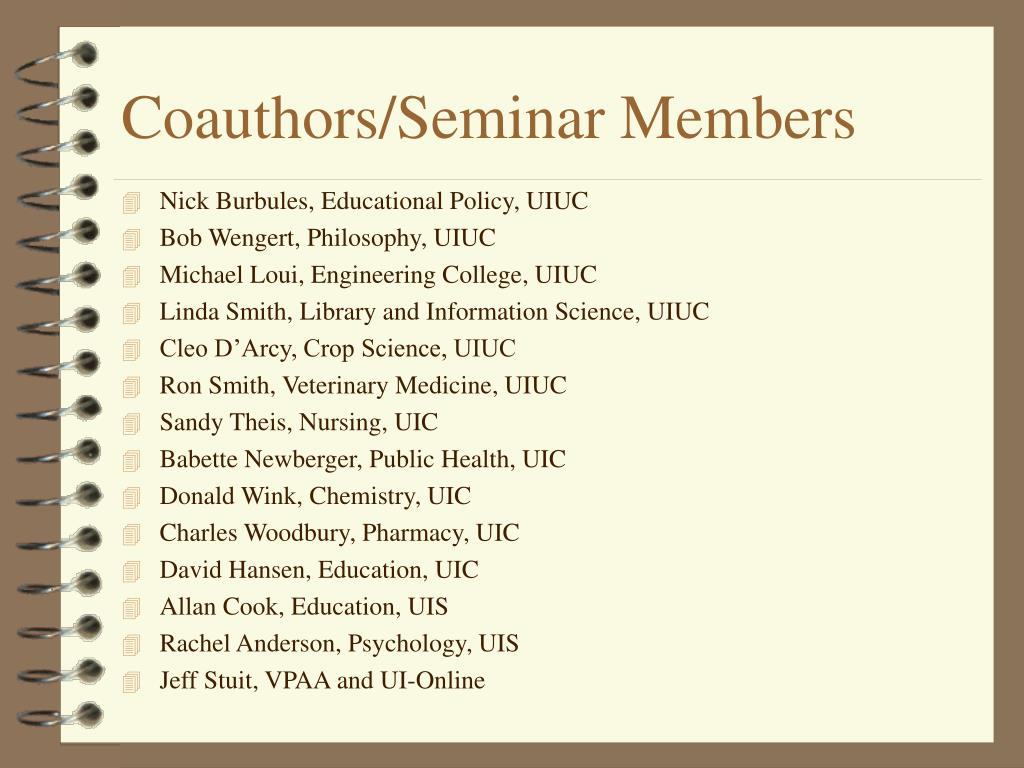 Coauthors/Seminar Members