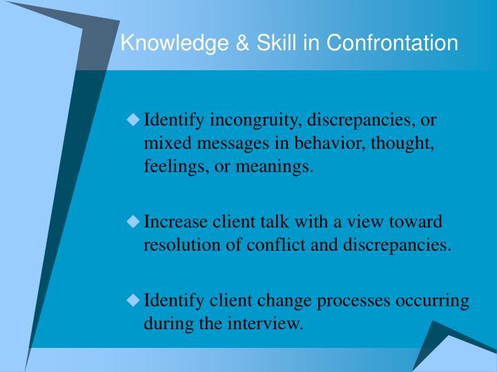 Knowledge skill in confrontation
