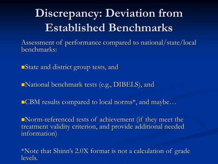 Discrepancy: Deviation from Established Benchmarks