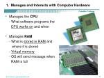 1 manages and interacts with computer hardware
