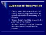 guidelines for best practice