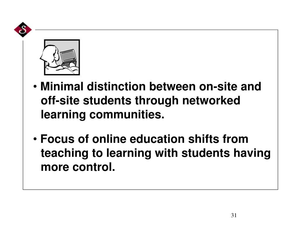 Minimal distinction between on-site and off-site students through networked learning communities.