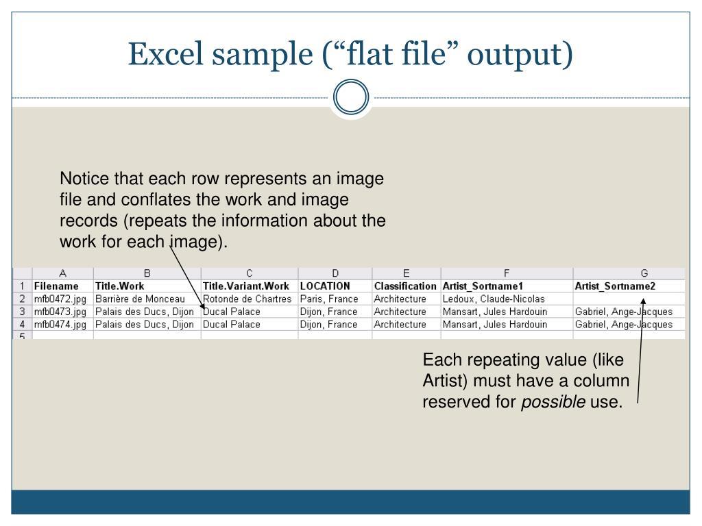 "Excel sample (""flat file"" output)"