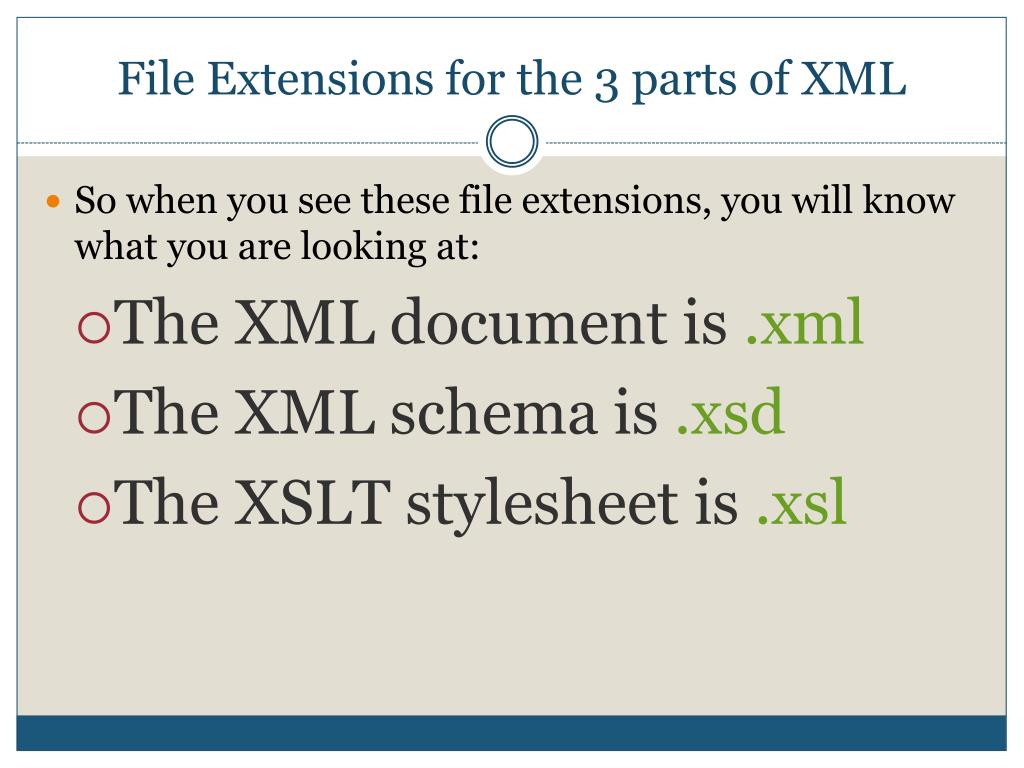 File Extensions for the 3 parts of XML