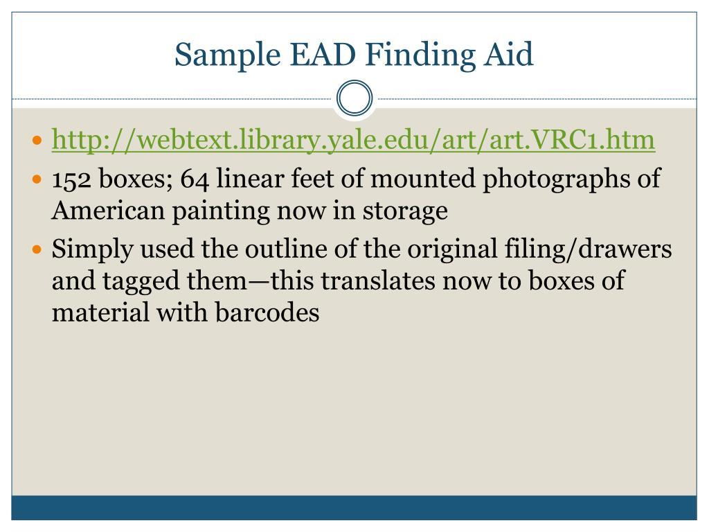Sample EAD Finding Aid