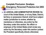 complete preclusion smallpox emergency personnel protection act 2003