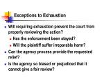 exceptions to exhaustion