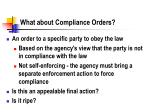 what about compliance orders