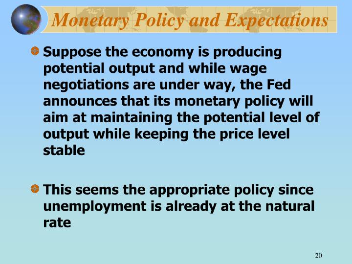Monetary Policy and Expectations