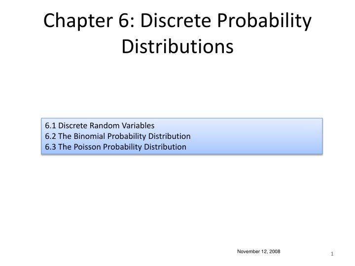 chapter 6 discrete probability distributions n.