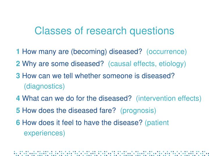 Classes of research questions