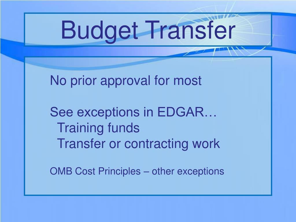 Budget Transfer