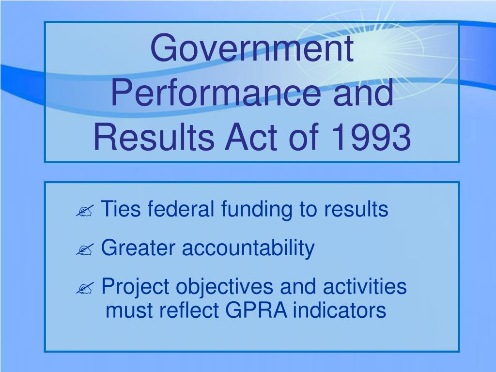 Government Performance and Results Act of 1993