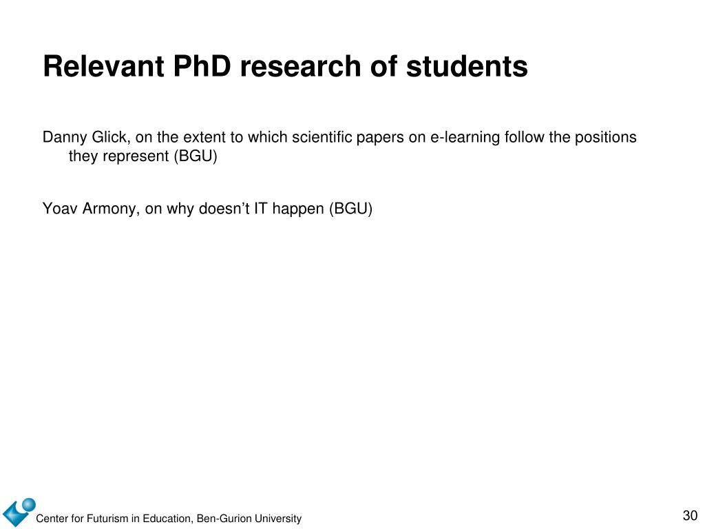 Relevant PhD research of students