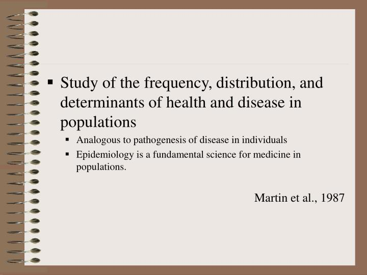 Study of the frequency, distribution, and determinants of health and disease in populations